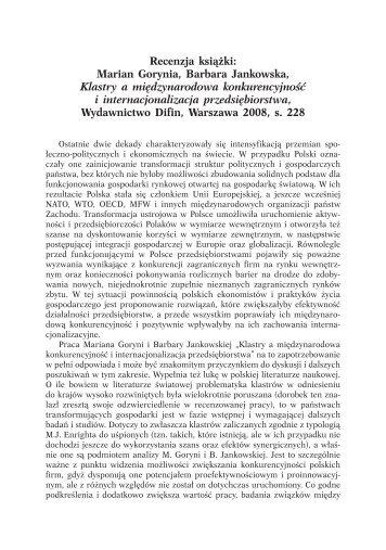 Rec. P. Deszczyński, Klastry a międzynarodowa konkurencyjność i ...