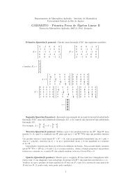 GABARITO – Primeira Prova de´Algebra Linear II - LabMA