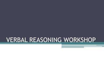 VERBAL REASONING WORKSHOP - Engquizzitive