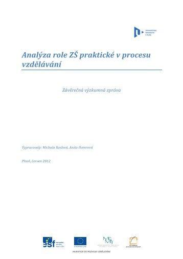 Analýza role ZŠ praktických v procesu vzdělávání - Člověk v tísni