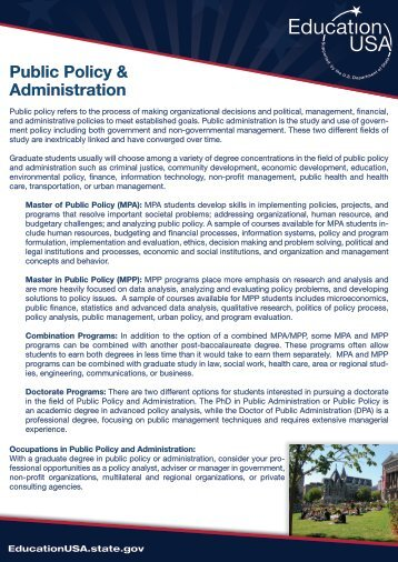 Public Policy & Administration - USIEF