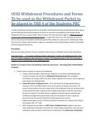 UISD Withdrawal Procedural Manual - United Independent School ...