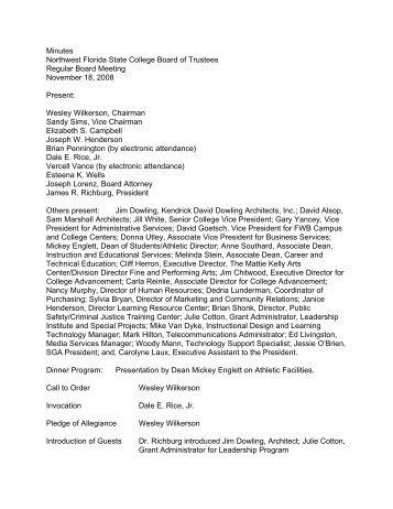 Board of Trustees Meeting Minutes, 11-18-2008, 01-19-2010