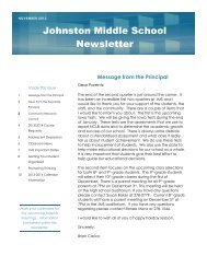 Johnston Middle School Newsletter - Johnston Community School ...