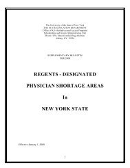 Regents Designated Physician Shortage Areas - New York State ...