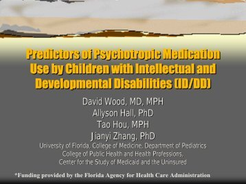 Predictors of Psychotropic Medication Use by Children with ...