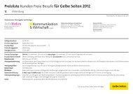 Preisliste Kunden Freie Berufe für Gelbe Seiten 2012