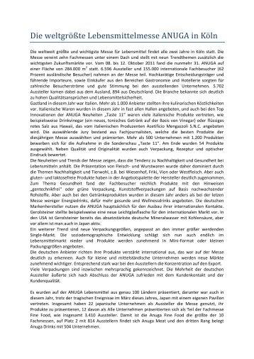 Bericht ANUGA 2011 - JETRO