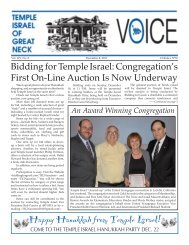 December 8th - Temple Israel of Great Neck