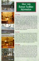 Retreat Facilities Information - Silver Lake Conference Center