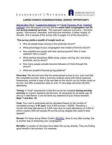 LARGE-CHURCH CONGREGATIONAL SURVEY OPPORTUNITY ...