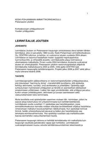 LEIRINTÄALUE JOUTSEN - Centria tutkimus ja kehitys