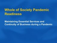 Whole of Society Pandemic Readiness(364 KB) - Pandemic Influenza