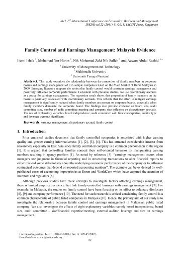 Family Control and Earnings Management: Malaysia Evidence - ipedr