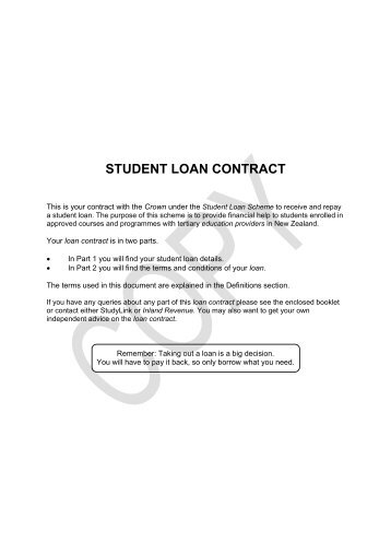 View the Student Loan Contract - Apr 2012 - StudyLink