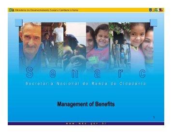 Management of Benefits