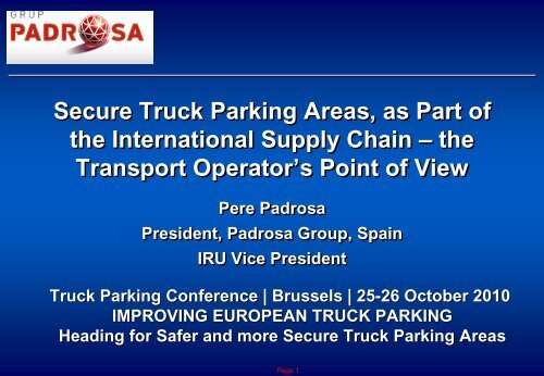 Secure Truck Parking Areas, as Part of the International     - LABEL