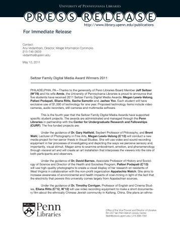 Seltzer Family Digital Media Award Winners 2011 - Penn Libraries ...