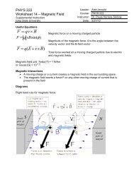 PHYS 222 Worksheet 14 Magnetic Field - Iowa State University