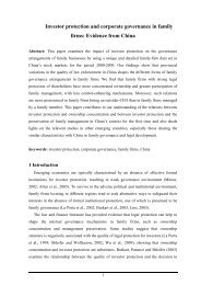 Investor protection and corporate governance in family firms ...