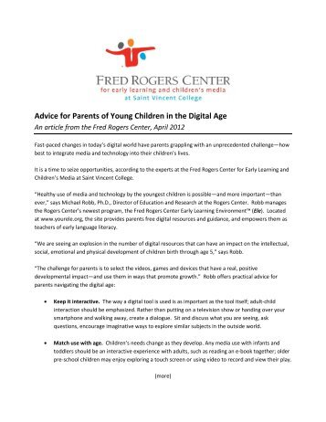 Advice for Parents of Young Children in the Digital Age