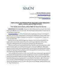 SIMON dTOUR LIVE® PRESENTED BY ABC FAMILY ... - Simon Malls