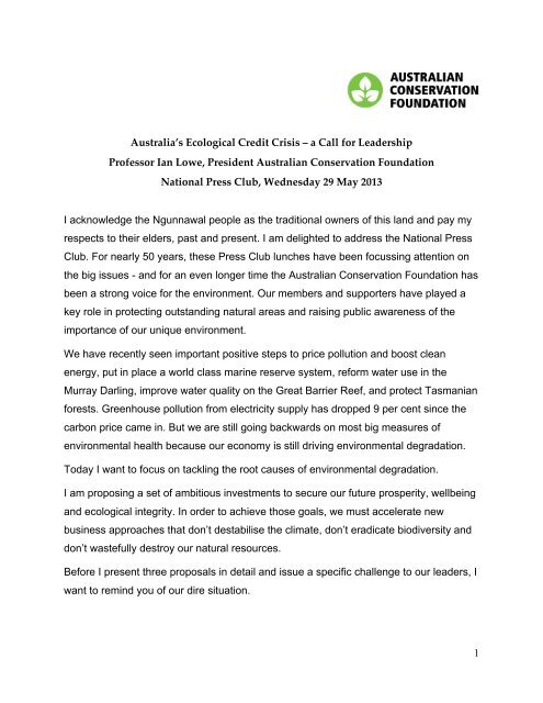 1 Australia's Ecological Credit Crisis – a Call for Leadership ...