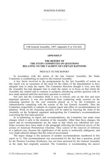 Report of the Study Committee on Questions Relating to the Validity ...