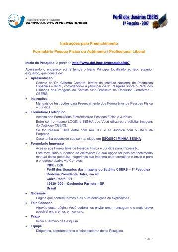 Instruções para Preenchimento Formulário Pessoa Física ou ... - INPE
