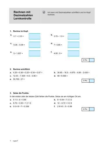 Rechnen mit Dezimalzahlen Lernkontrolle - Wiki