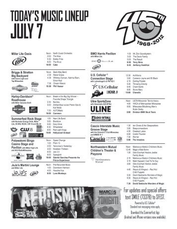 today's music lineup july 7 - Summerfest