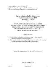 Sprawozdanie z badań statutowych realizowanych w roku 2009 - AGH