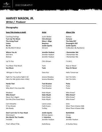 HARVEY MASON, JR. Writer / Producer