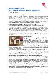 01/2011 bis 06/2013 FB8 - Fachbereich Medien, Kunst und Industrie ...