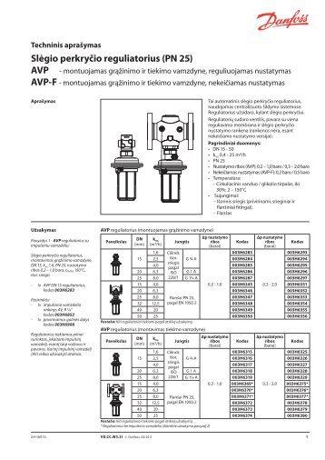 Slėgio perkryčio reguliatorius (PN 25) - Danfoss