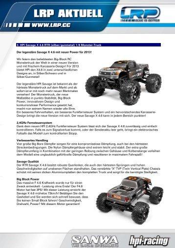 3. HPI Savage X 4.6 RTR (silber/gunmetal) 1/8 Monster-Truck Der ...