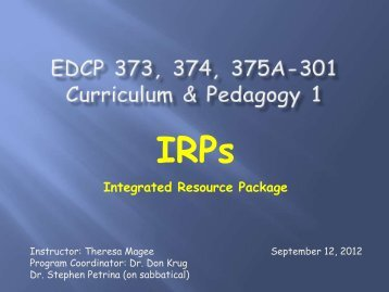 Sept 12 – IRPs