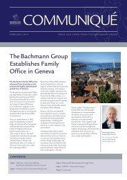 The Bachmann Group Establishes Family Office in Geneva