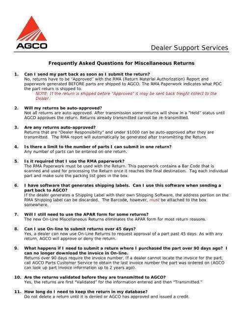 form i-9 faq  Miscellaneous Returns FAQ - AGCO DSS Team