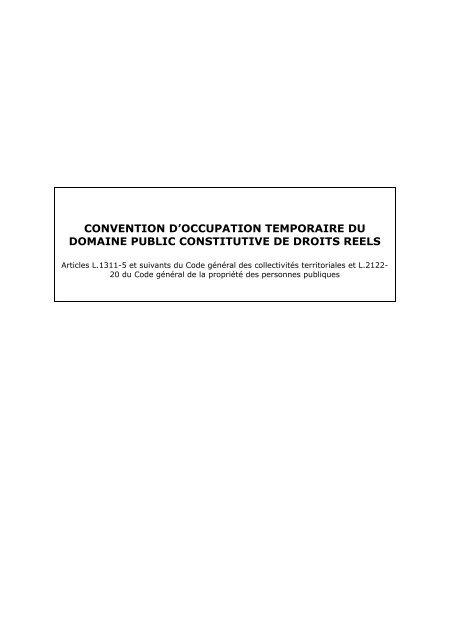 convention d'occupation temporaire du domaine public constitutive ...