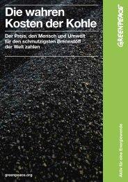 Studie: Die wahren Kosten der Kohle - Greenpeace