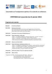 SYNTHESE de la journée du 21 janvier 2013 - École Nationale ...