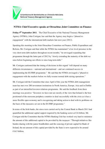 NTMA Chief Executive speaks at Oireachtas Joint Committee on ...