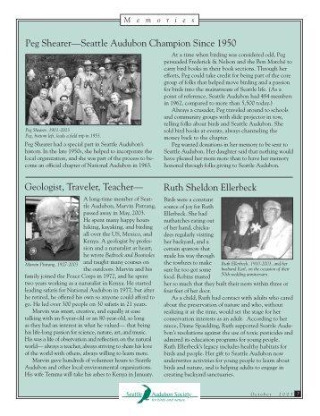 Peg Shearer—Seattle Audubon Champion Since 1950 Ruth ...