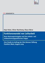 """Studie """"Funktionswandel von Leiharbeit"""" - Otto Brenner Shop"""