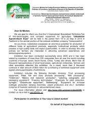 Dear Sir/Madam, We are glad to inform you that the V ... - Uzbekistan
