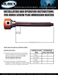 Screw Plug Immersion Heater Installation and ... - Durex Industries