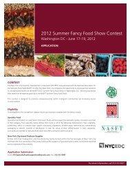 2012 Summer Fancy Food Show Application - NYCEDC