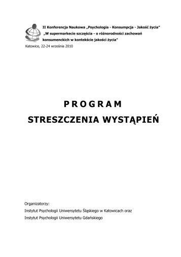 Kliknij, aby pobrać szczegółowy program konferencji - Uniwersytet ...