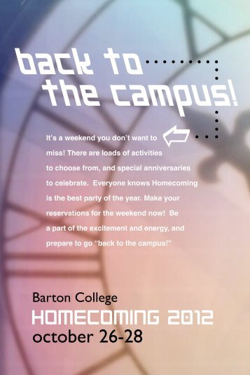 back to the campus! - Barton College